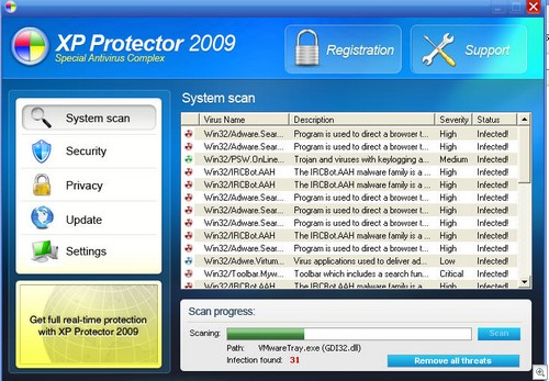 supprimer XP Protector 2009