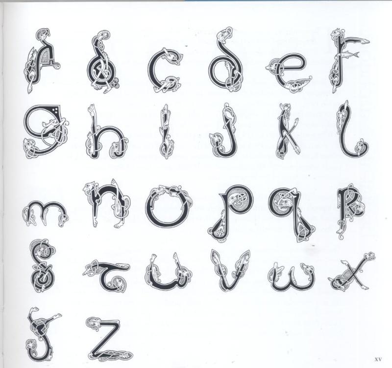 """Voici la page qui présente l'ensemble de l'alphabet """"Celtic dogs"""":"""