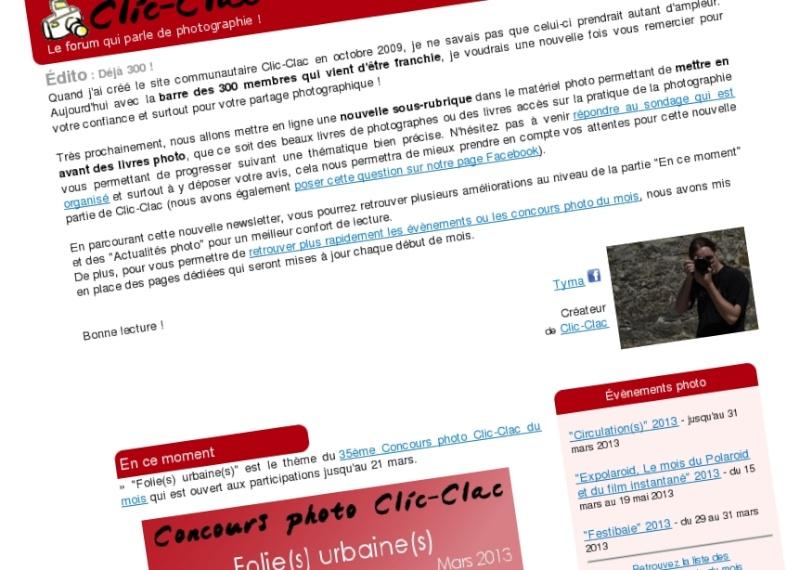 Newsletter photo mensuelle gratuite de Clic-Clac