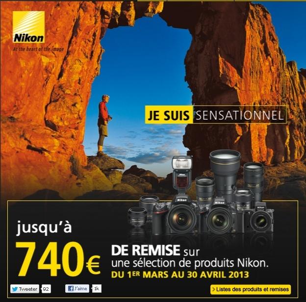 Remises jusqu'à 740€ sur certains appareils, objectifs et accessoires Nikon
