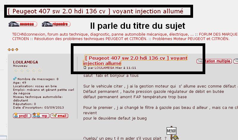 peugeot 407 sw 2 0 hdi 136 cv voyant injection allum r solu. Black Bedroom Furniture Sets. Home Design Ideas