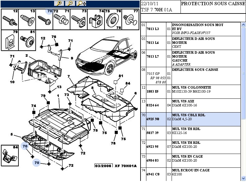 Cache Protection sous moteur Peugeot 307 7013.L6