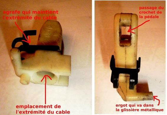Piece plastique pedale embrayage